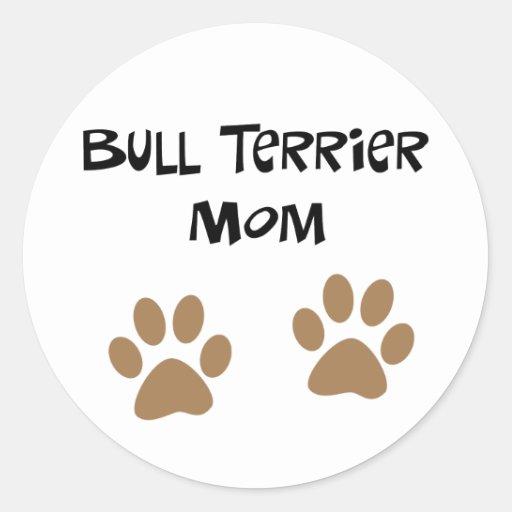 Big Pawprints Bull Terrier Mom Stickers