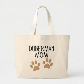 Big Paws Doberman Mom Large Tote Bag
