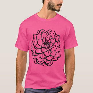 Big Pen and Ink Dahlia - Black on White T-Shirt