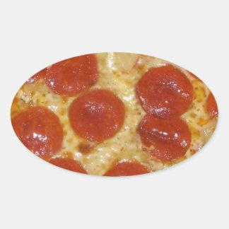 big pepperoni pizza oval sticker