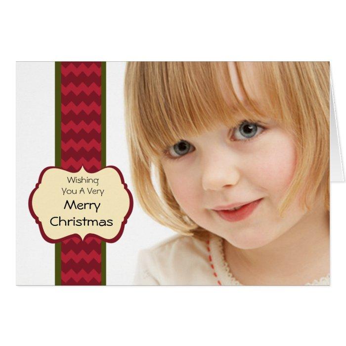 Big Photo Chevron Ribbon Folded Holiday Card