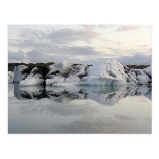 Big piece of glacier ice in water postcard