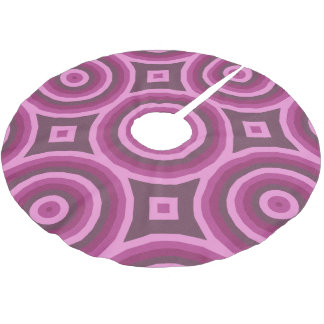 Big Pink and Burgundy Hypnotic Circle Design Brushed Polyester Tree Skirt
