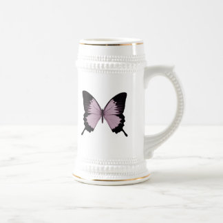 Big Pink & Black Butterfly - Personalize Beer Stein