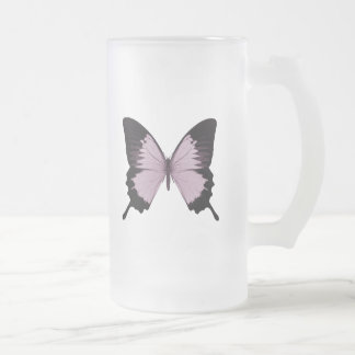Big Pink & Black Butterfly - Personalize Frosted Glass Beer Mug