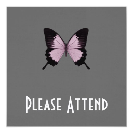 Big Pink & Black Butterfly - Personalize Personalized Announcements