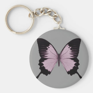 Big Pink & Black Butterfly - Personalize Keychain