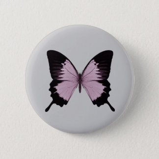 Big Pink & Black Butterfly - Personalize Pinback Button