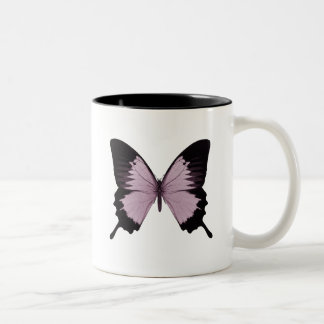 Big Pink & Black Butterfly - Personalize Two-Tone Coffee Mug