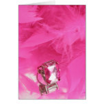 Big pink bling ring with feather boa greeting card