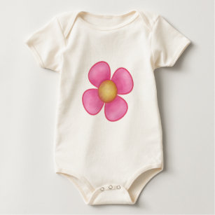Flowers four petals pink gifts on zazzle big pink four petal flower yellow center gift baby bodysuit mightylinksfo