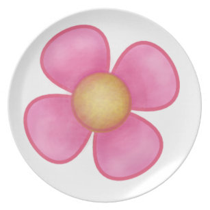 Pink flower with yellow center home furnishings accessories zazzle big pink four petal flower yellow center gift dinner plate mightylinksfo