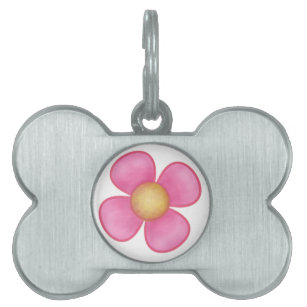 Flowers four petals pink home dcor furnishings pet supplies zazzle big pink four petal flower yellow center gift pet name tag mightylinksfo
