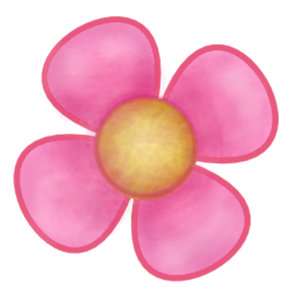 Flowers four petals pink gifts on zazzle big pink four petal flower yellow center gift pet name tag mightylinksfo