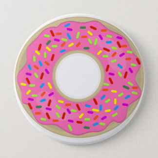 Big Pink Frosted Donut Button