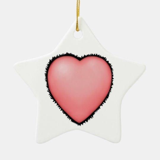 Big Pink Fury Love Heart Ceramic Ornament
