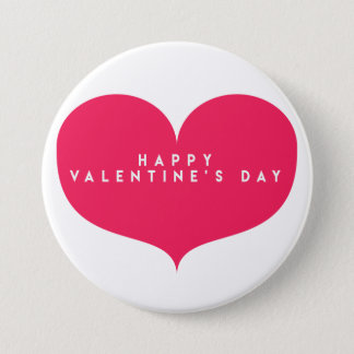 Big Pink Heart - Happy Valentine's Day Button