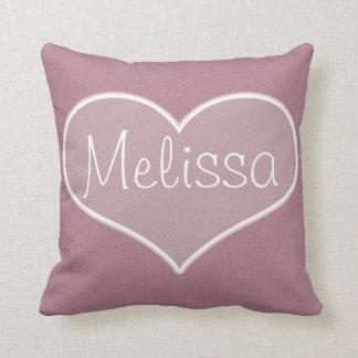 Big Pink Heart Name Monogram Custom Throw Pillow