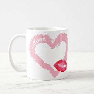 Big Pink Love Heart with Lips Coffee Mug