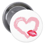 Big Pink Love Heart with Lips Pinback Buttons