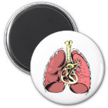 Big Pink Lungs 2 Inch Round Magnet