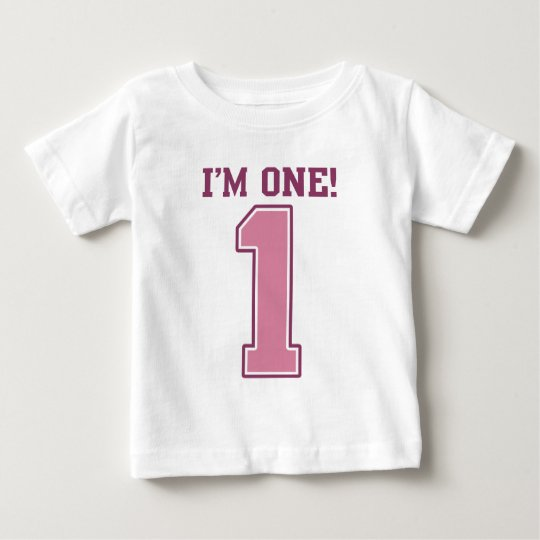 Big Pink Number One, Girl's First Birthday Baby T-Shirt
