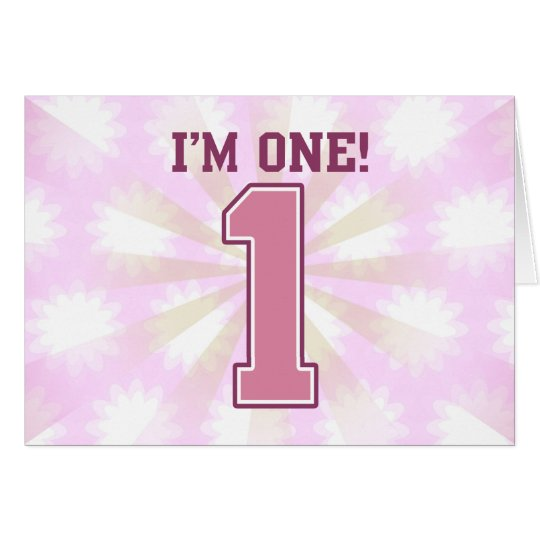 Big Pink Number One, Girl's First Birthday Card
