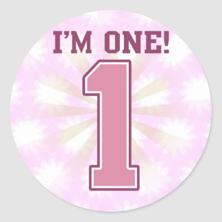 Big Pink Number One, Girl's First Birthday Classic Round Sticker