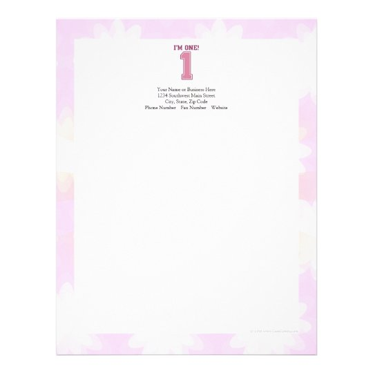 Big Pink Number One, Girl's First Birthday Letterhead