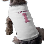 Big Pink Number One, Girl's First Birthday Pet Tshirt