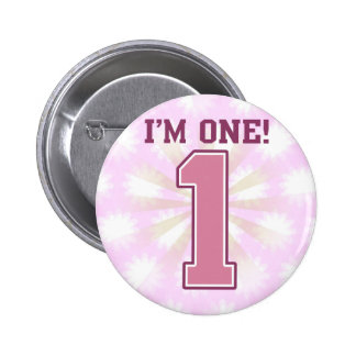 Big Pink Number One, Girl's First Birthday Pinback Button