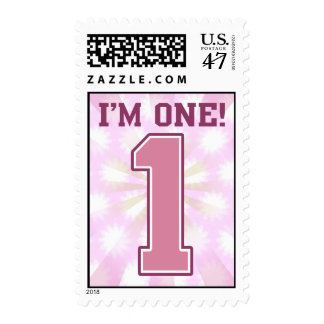 Big Pink Number One, Girl's First Birthday Postage