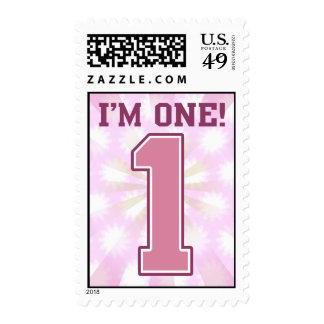 Big Pink Number One, Girl's First Birthday Stamp