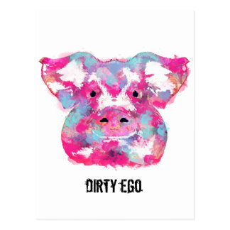 Big pink pig dirty ego postcard