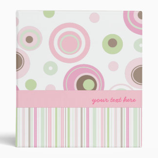 Big Pink Polka Dots & Stripes Girly Binder