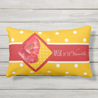 Big Polka Dot Prints in Yellow and Poppy Red Outdoor Pillow