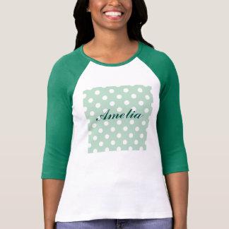big polka dot white mint fun trendy girly chic t shirt