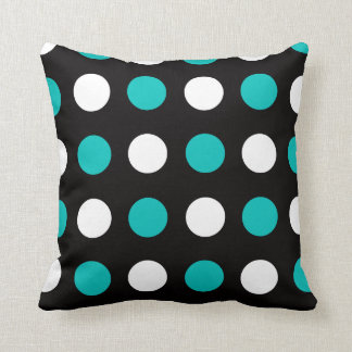 Big Polka Dots Teal Black and White Pillow