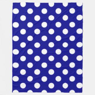 Big Polkadotted Pattern Dark Blue Fleece Blanket