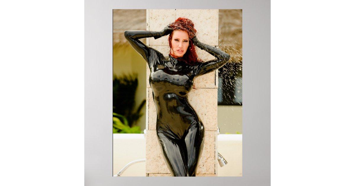 Bianca beauchamp black latex catsuit