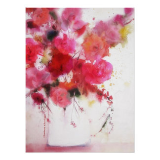 big poster watercolor painting pink red roses