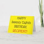 [ Thumbnail: Big Print 78th Birthday Greeting Card ]