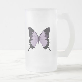 Big Purple & Black Butterfly Frosted Glass Beer Mug
