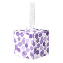 Big Purple Dots Pattern Cube Ornament