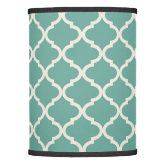 Big Quatrefoil Cream Dark Mint Lamp Shade (Only)