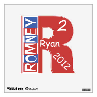 Big R 2 (squared) Red White Blue Romney Ryan Wall Decal