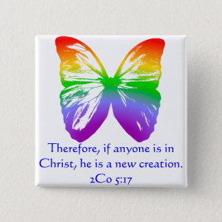 Big Rainbow Butterfly Pinback Button