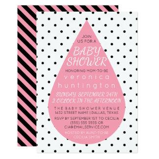Big Raindrop & Polka Dots Pink Baby Shower Card