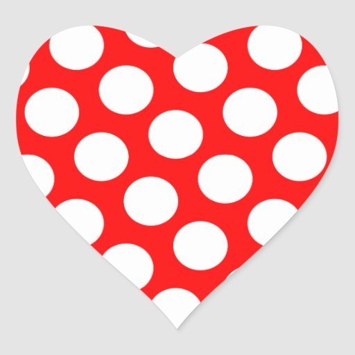 Big Red and White Polka Dots Heart Stickers