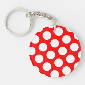 Big Red and White Polka Dots Keychain